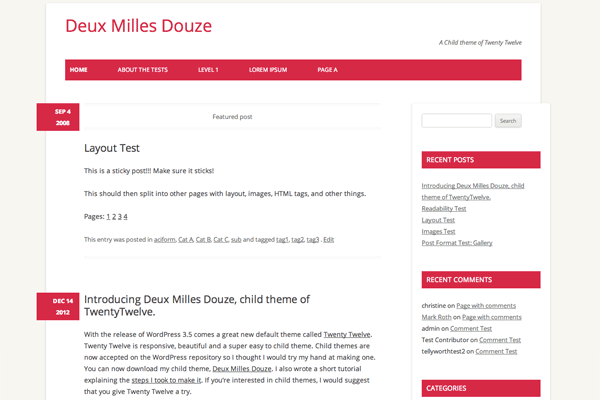 deux milles douze website wordpress theme design