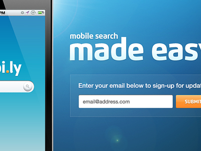 Mobile iPhone Landing Page signup form