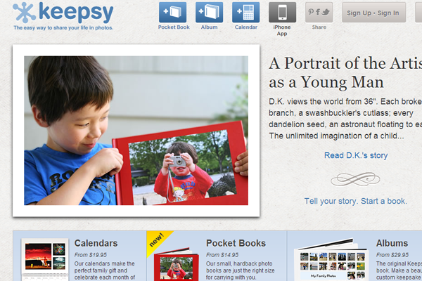 Keepsy web 2.0 homepage design layout