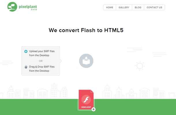 startup convert flash graphics website ui landing page