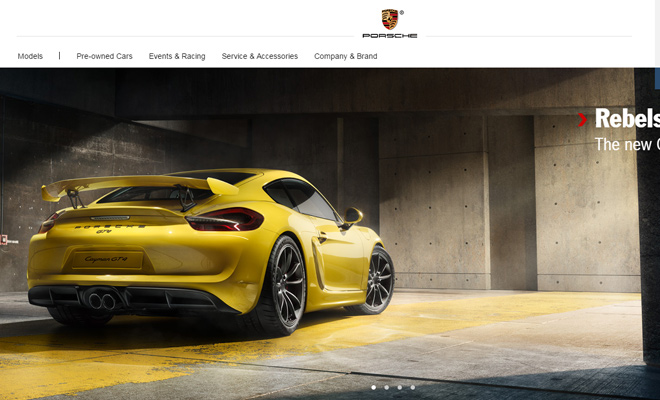 porsche website automotive website
