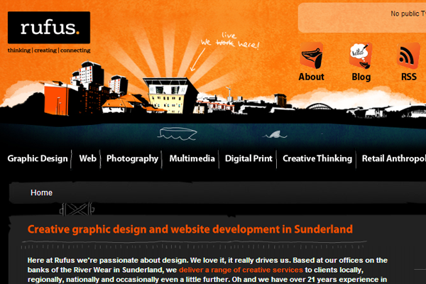 orange website layout Rufus graphics