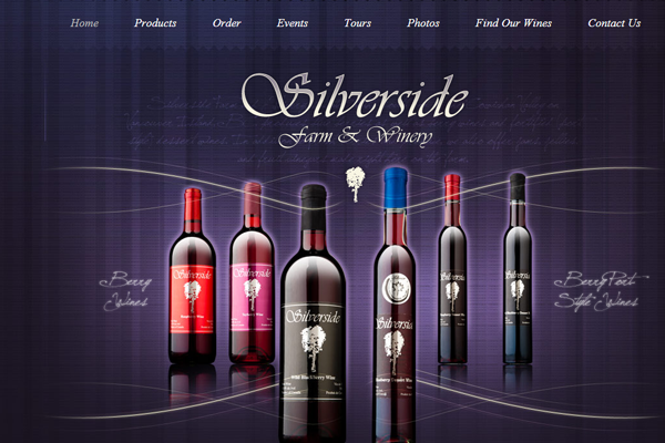 purple grapes winery website layout design