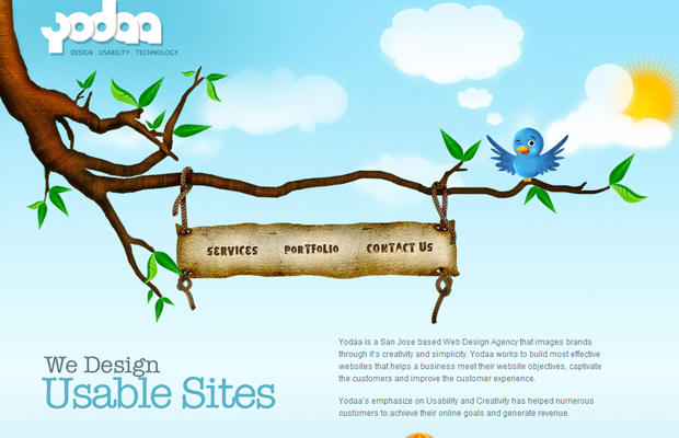 yodaa birdie website natural green layout design