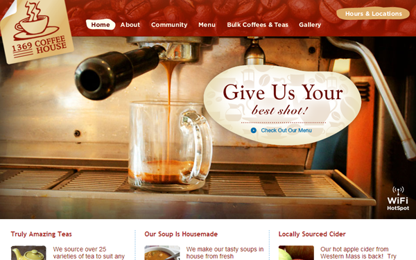 coffee house layouts websites inspiring designs