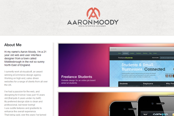 Aaron Moody website design portfolio