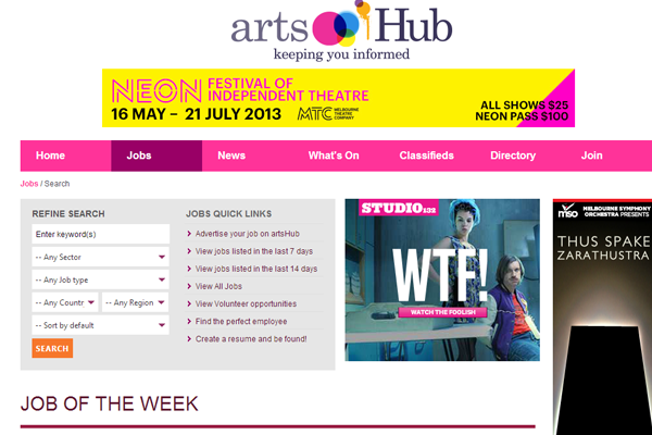 arts hub jobs board interface designs