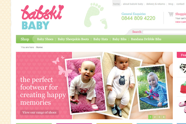 ecommerce website layout design babski baby boutique