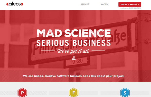cileos red software development company homepage layout