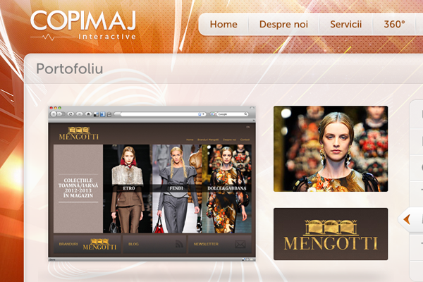 Copimaj orange website portfolio design layout