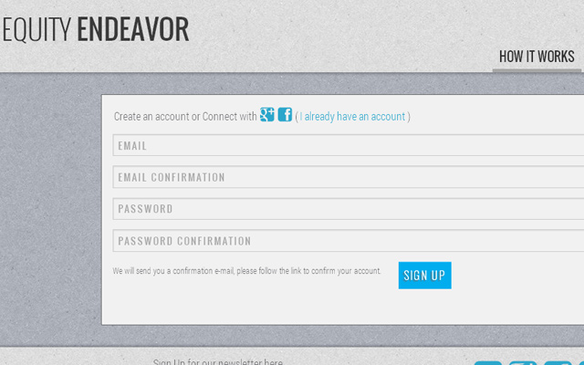 equity endeavor signup form texture design