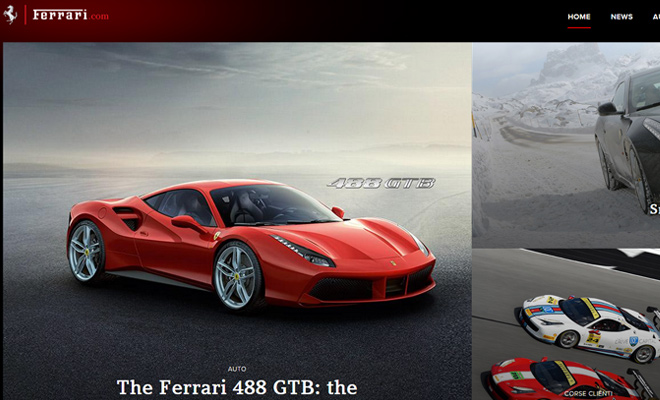 ferrari website homepage design