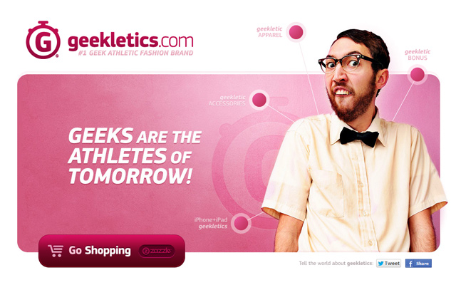 pink website homepage geekletics clean minimal