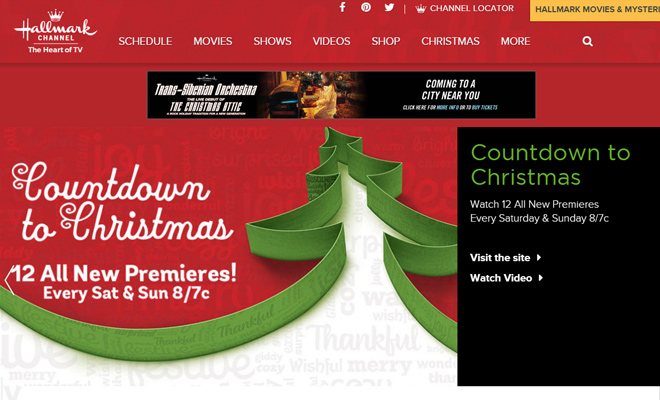 hallmark channel website design homepage layout
