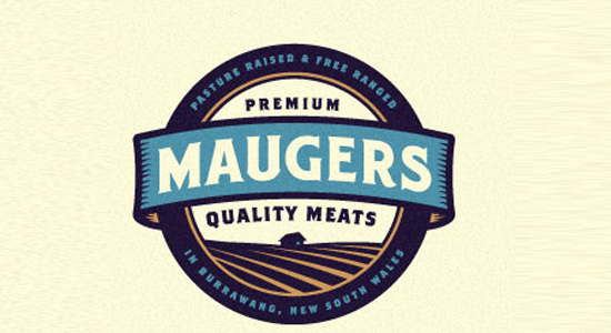 maugers bright ribbon quality meat logo
