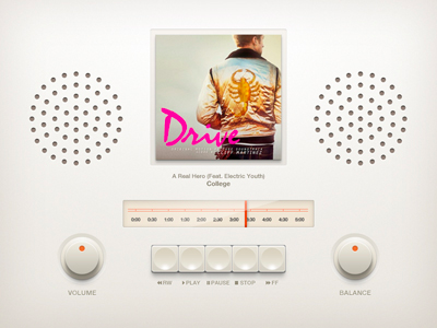 Radio music player design interface