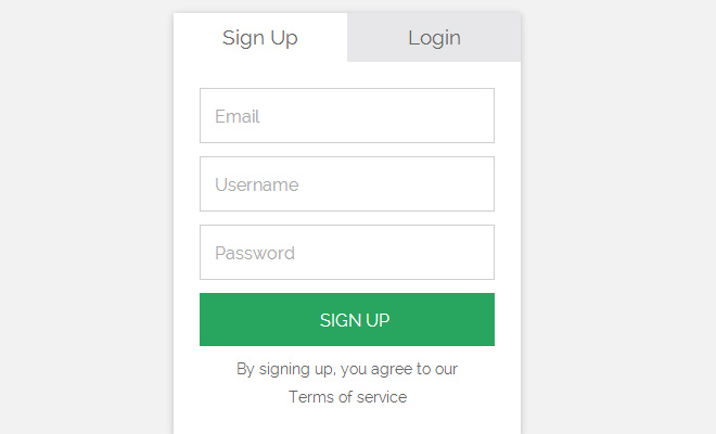 tabbed switch login sign up form