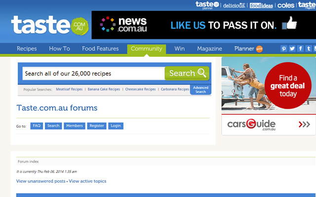 taste.com.au forums australia blue interface