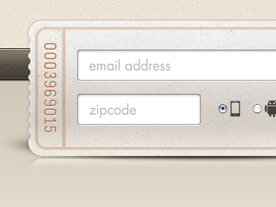 html website signup form ticket interface