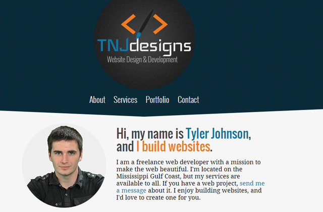 tyler johnson portfolio flat website layout