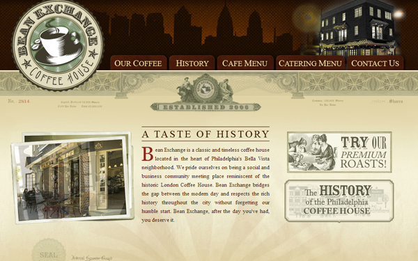 bean exchange website cofee roasters inspiring layout