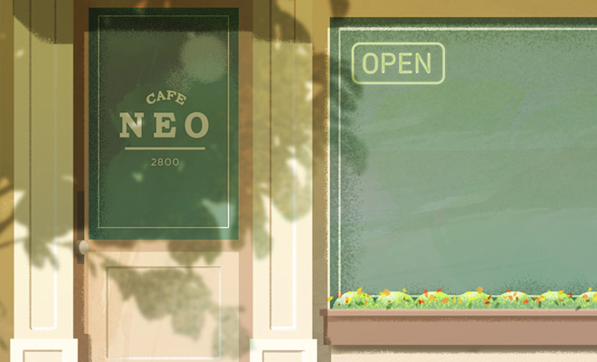 cafe neo exterior illustration