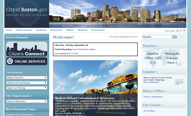 city of boston massachusetts website