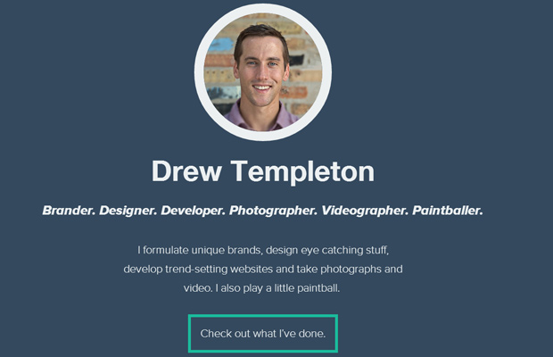 drew templeton dark blue website homepage layout portfolio