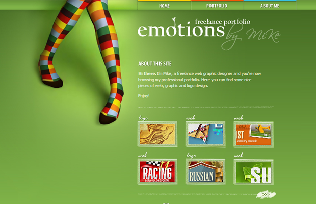emotions portfolio website layout green design