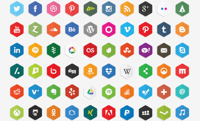 vector social media polygon iconset