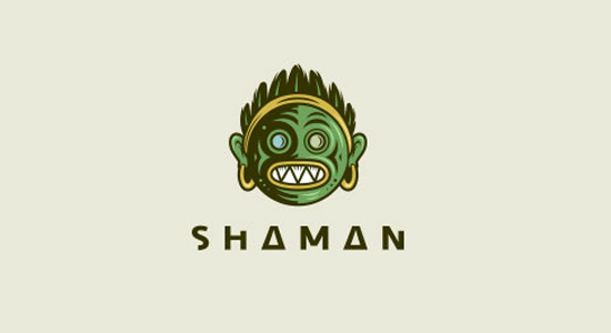 green shaman logo design fancy icon