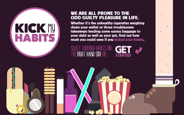 kick my habits website parallax design single page