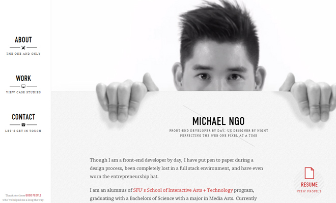 michael ngo portfolio responsive website layout design