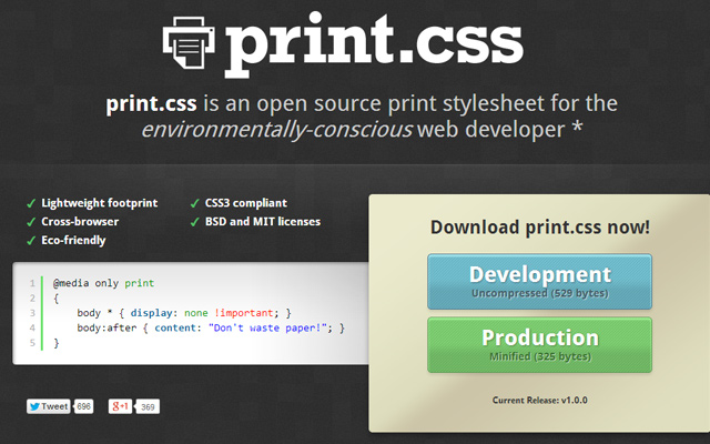 print css open source stylesheet download library