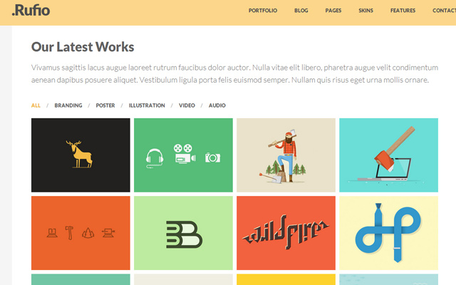 rufio flat responsive 2-in-1 template html5