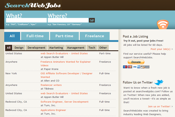search website jobs board design