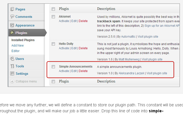 simple wordpress announcements plugin tutorial