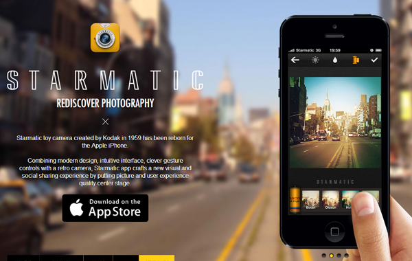 iphone camera starmatic landing webpage