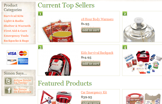 survival gear simon ecommerce product list