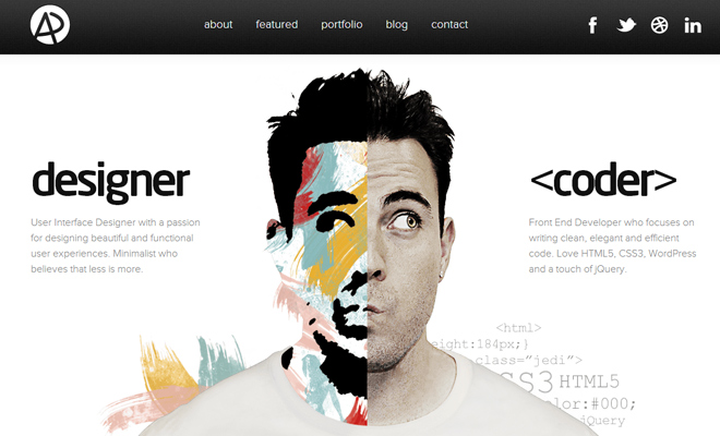 adham dannaway website portfolio inspiration responsive coder designer - Graphic Design Portfolio Ideas