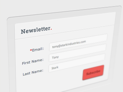 Red minimalist input fields form signup