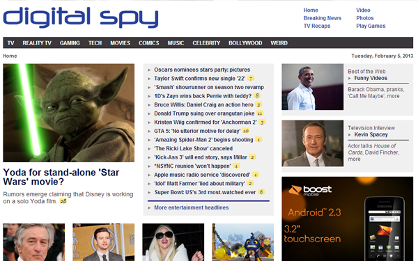 digital spy website layout magazine interfaces
