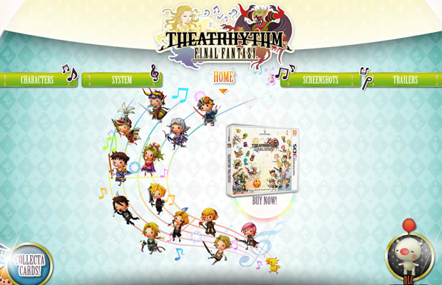 theatrhythm final fantasy video game website flash layout
