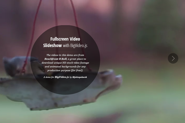HTML5 fullscreen oversized videos streaming slideshow tutorial