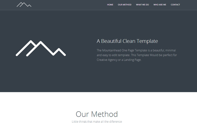 html5 mountainhead responsive website template clean flat layout