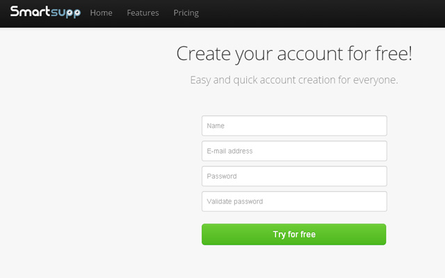 register new account form webdesign inspiration smartsupp