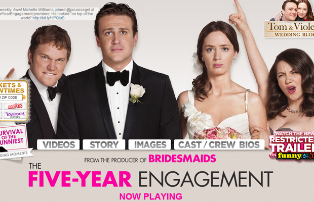 five year engagement movie website layout