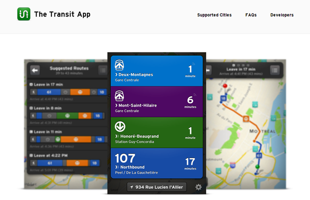 transit app website layout landing homepage design