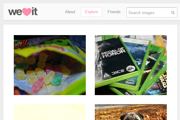 Photo sharing social networking weheartit layout