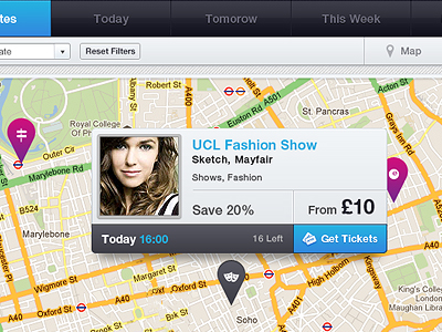 Dynamic website maps view with user tooltip geolocation